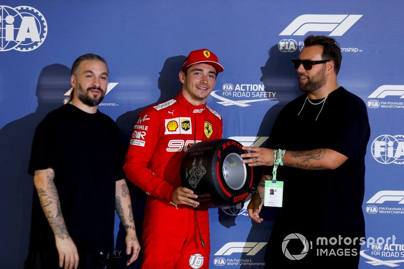 Pole sitter Charles Leclerc, Ferrari receives the Pirelli Pole Position award from Swedish House Mafia, DJs