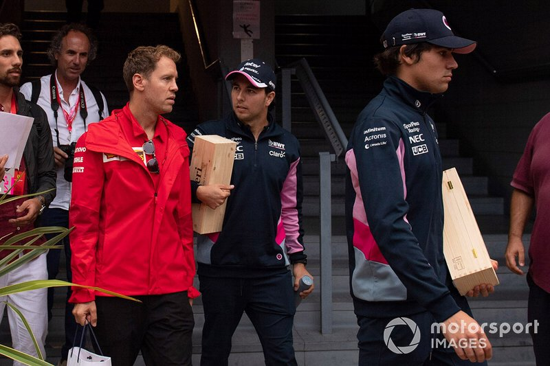 Sebastian Vettel, Ferrari, Sergio Perez, Racing Point and Lance Stroll, Racing Point
