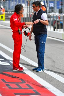 Laurent Mekies, Sporting Director, Ferrari, with Michael Masi, Race Director, FIA