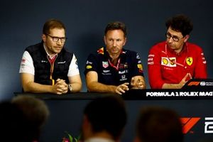 Andreas Seidl, Team Principal, McLaren, Christian Horner, Team Principal, Red Bull Racing, and Mattia Binotto, Team Principal Ferrari, in the Press Conference