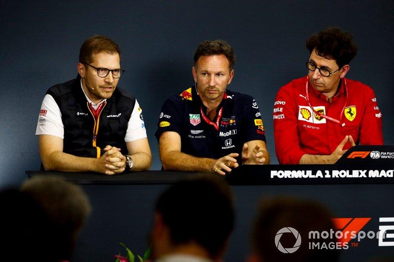 Andreas Seidl, Team Principal, McLaren, Christian Horner, Team Principal, Red Bull Racing, and Mattia Binotto, Team Principal Ferrari, in the Press Conference