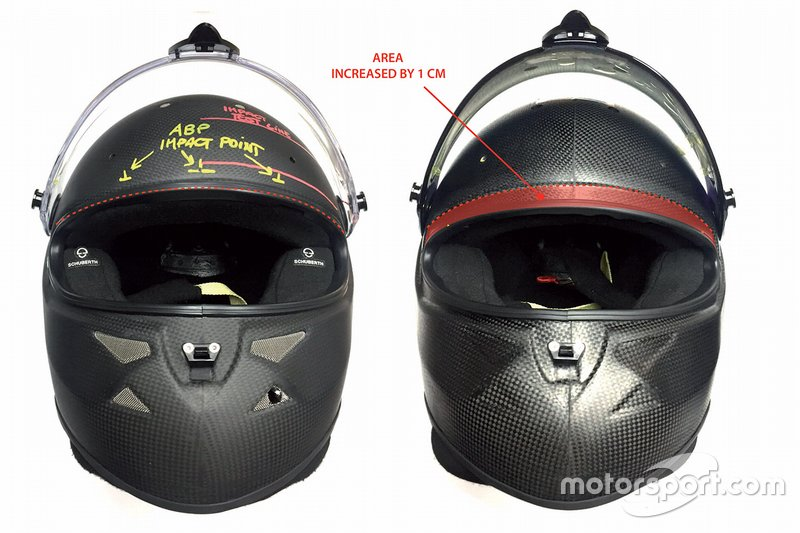 New F1 standard 8860:2018 helmet (right) with an increased protection