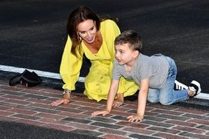 Race winner Kyle Busch, Joe Gibbs Racing, Toyota Supra wife Samantha, son Brexton