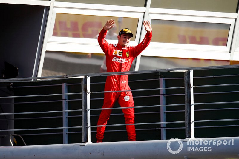 Charles Leclerc, Ferrari, 1st position, arrives on the podium