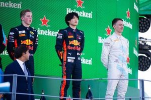 Yuki Tsunoda, Jenzer Motorsport Liam Lawson, MP Motorsport and Jake Hughes, HWA RACELAB