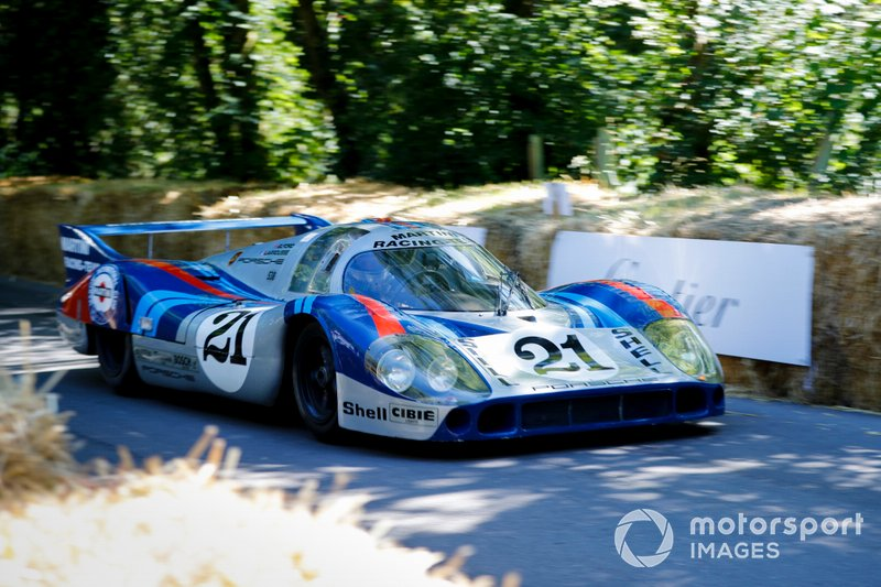 A 1971 Martini Racing Porsche 917 Langheck, driven in period by Gerard Larrousse, and Vic Elford
