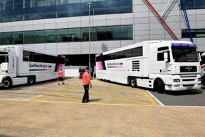 Racing Point transporter arrives in the paddock