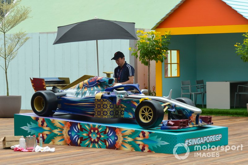 A display car in the paddock