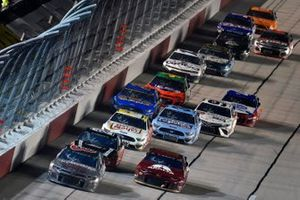 Daniel Hemric, Richard Childress Racing, Chevrolet Camaro Caterpillar and Alex Bowman, Hendrick Motorsports, Chevrolet Camaro Axalta Throwback
