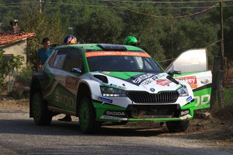 Kalle Rovanperä, Jonne Halttunen, Skoda Motorsport Skoda Fabia R5 after their crash in SS2