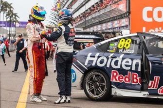 Race winner Jamie Whincup, Triple Eight Race Engineering Holden, second place Fabian Coulthard, DJR Team Penske Ford,