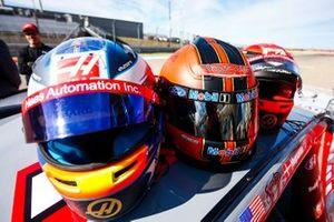 The helmets of Romain Grosjean, Haas F1 Team Team, Tony Stewart and Kevin Magnussen, Haas F1 Team Team