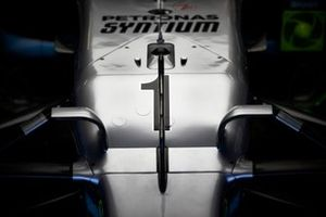 The nose of the car of Lewis Hamilton, Mercedes AMG F1, adorned with the champions number 1 for FP1.