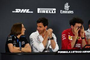 Claire Williams, Deputy Team Principal, Williams Racing, Toto Wolff, Executive Director (Business), Mercedes AMG, and Mattia Binotto, Team Principal Ferrari