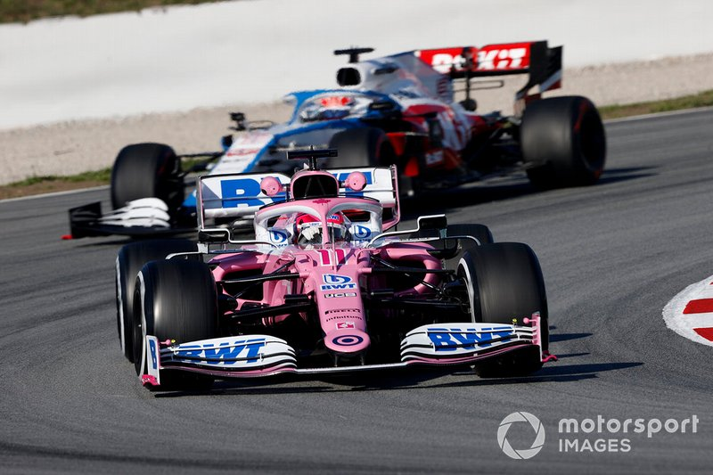 Sergio Perez, Racing Point RP20 y George Russell, Williams FW43