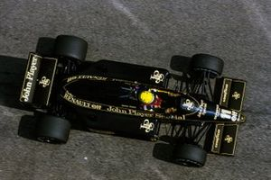 Ayrton Senna in the interim Lotus 97T Renault with the Lotus 98T suspension and gearbox