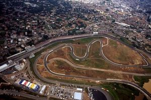An aerial view of the Autodromo Carlos Pace at Interlagos