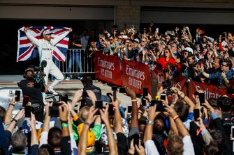 Lewis Hamilton, Mercedes AMG F1, 2nd position, celebrates after securing his sixth world championship