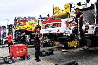 Brad Keselowski, Team Penske, Ford Mustang Discount Tire hauler and Joey Logano, Team Penske, Ford Mustang Shell Pennzoil hauler