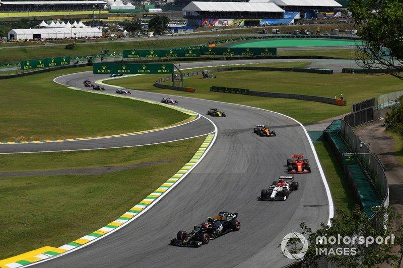 Кевин Магнуссен, Haas F1 Team VF-19, Антонио Джовинацци, Alfa Romeo Racing C38, Шарль Леклер, Ferrari SF90, и Ландо Норрис, McLaren MCL34