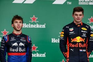 Pierre Gasly, Toro Rosso, 2nd position, and Max Verstappen, Red Bull Racing, 1st position, on the podium
