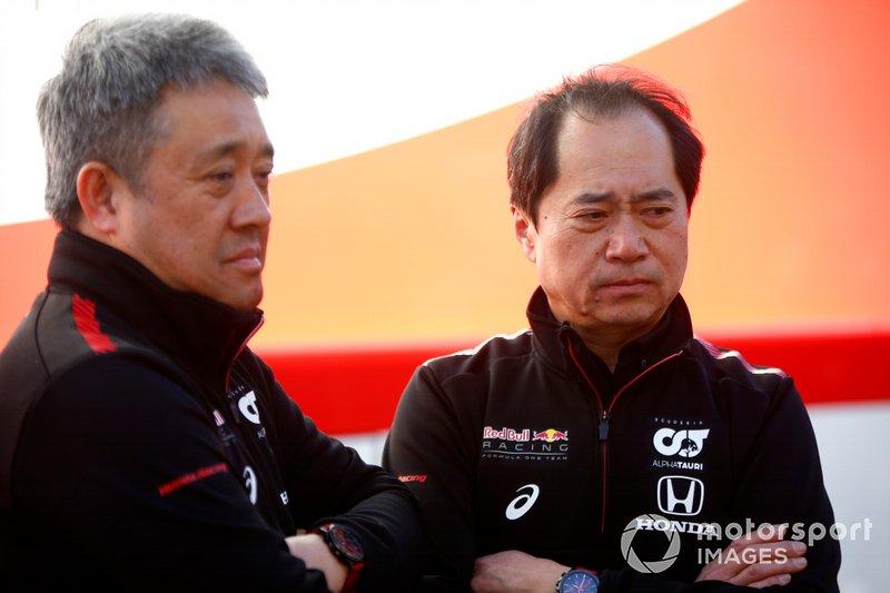 Masashi Yamamoto, General Manager, Honda Motorsport e Toyoharu Tanabe, F1 Technical Director, Honda