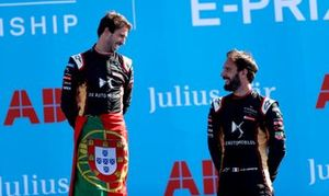 Race winner Antonio Felix da Costa, DS Techeetah on the podium with teammate Jean-Eric Vergne, DS Techeetah, 3rd position