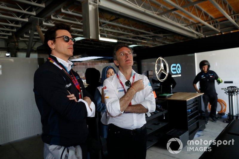 Toto Wolff, Marito di Susie Wolff, Team Principal, Venturi con Alejandro Agag, Chairman di Formula E