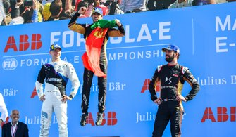 Antonio Felix da Costa, DS Techeetah, DS E-Tense FE20, primo classificato, Maximilian Günther, BMW I Andretti Motorsports, secondo classificato, Jean-Eric Vergne, DS Techeetah, DS E-Tense FE20, terzo classificato