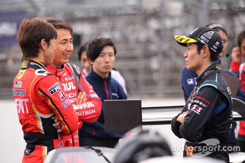 #38 Team Zent Cerumo Lexus LC500: Yuji Tachikawa, #23 Nismo Nissan GT-R: Tsugio Matsuda, #1 Team Kunimitsu Honda NSX-GT: Naoki Yamamoto