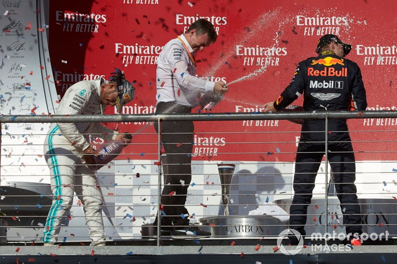 James Allison, Technical Director, Mercedes AMG, sprays champagne with Lewis Hamilton, Mercedes AMG F1 and Max Verstappen, Red Bull Racing
