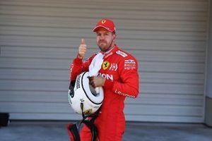 Pole man Sebastian Vettel, Ferrari, after Qualifying