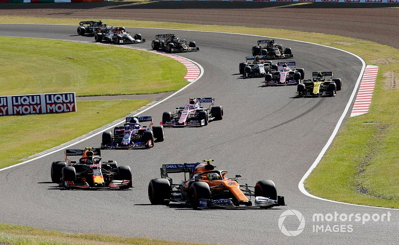 Lando Norris, McLaren MCL34, leads Alex Albon, Red Bull RB15, Pierre Gasly, Toro Rosso STR14, Lance Stroll, Racing Point RP19, and Nico Hulkenberg, Renault F1 Team R.S. 19