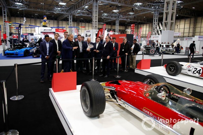 Giorgio Piola of Motorsport Network takes guests on a guided tour of the historical F1 cars on the Motorsport Decades display