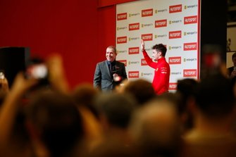 Presenter Stuart Codling and Charles Leclerc, Ferrari on the Autosport stage