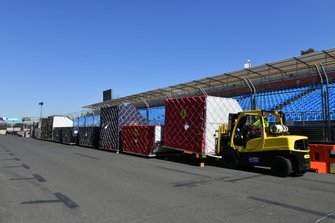 Ferrari and Red Bull Freight arrives