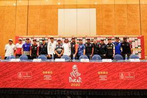 Abdulaziz bin Turki Al Saud with top drivers and riders during the press conference