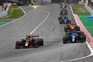 Sergio Perez, Red Bull Racing RB16B, Esteban Ocon, Alpine A521, Lando Norris, McLaren MCL35M, and Fernando Alonso, Alpine A521