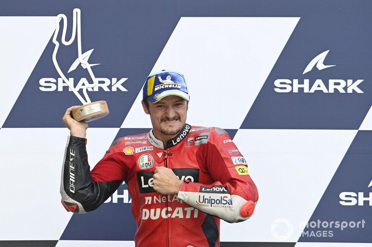Podio: ganador de la carrera Jack Miller, Ducati