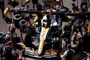 The McLaren team practice pit stops with the car of Daniel Ricciardo, McLaren MCL35M