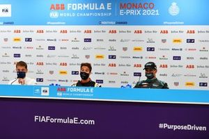 Robin Frijns, Envision Virgin Racing, 2nd position, Antonio Felix Da Costa, DS Techeetah, 1st position, Mitch Evans, Jaguar Racing, 3rd position, in the Press Conference