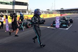 Pole man Lewis Hamilton, Mercedes, celebrates after Qualifying