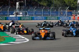 Lando Norris, McLaren MCL35M, Fernando Alonso, Alpine A521, Sergio Perez, Red Bull Racing RB16B, and Daniel Ricciardo, McLaren MCL35M