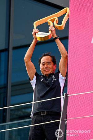 Toyoharu Tanabe, F1 Technical Director, Honda, op het podium
