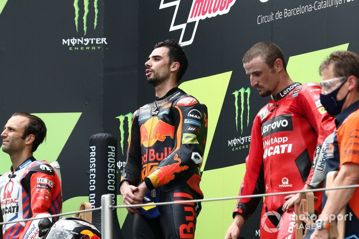 Podio: ganador de la carrera Miguel Oliveira, Red Bull KTM Factory Racing, segundo lugar Johann Zarco, Pramac Racing, tercer lugar Jack Miller, Ducati Team
