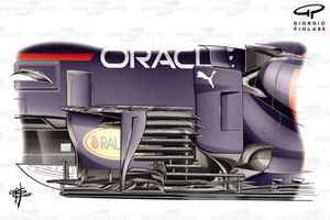 Red Bull Racing RB16B nieuw bargeboard detail