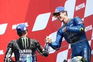 2. Maverick Vinales, Yamaha Factory Racing, 3. Joan Mir, Team Suzuki MotoGP