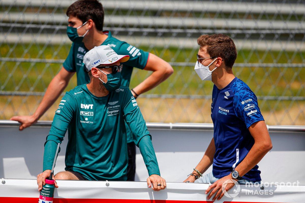 Sebastian Vettel, Aston Martin and George Russell, Williams