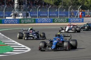 Esteban Ocon, Alpine A521, Pierre Gasly, AlphaTauri AT02, and Kimi Raikkonen, Alfa Romeo Racing C41