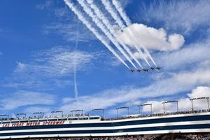 Thunderbirds fly over